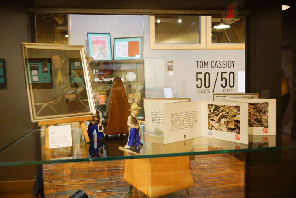 50 Years / 50 Objects, curated by Tom Cassidy. On display April 11 – August 10, 2014 in the Open Book Cowles Literary Commons.